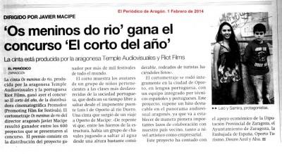 """AMPLIAR  """"Os Meninos do rio"""" en El Periódico de Aragón 1 Febrero 2014"""
