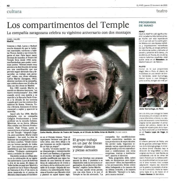 El País celebra el XX Aniversario de Teatro del Temple